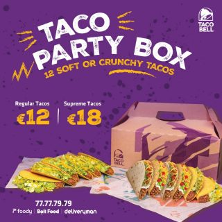 Our Taco Party Box is the perfect treat for you and the family! 😉 Order Delivery Now at 📞77 77 79 79 or via Foody or Bolt Food or DeliveryMan! 🛵 #TacoBellCy #TacoBellDelivery #AtHomeWithTacoBell #LiveMas